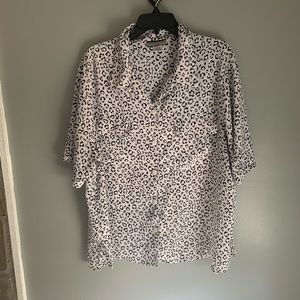 Short Sleeve Leopard Animal Print Button Blouse